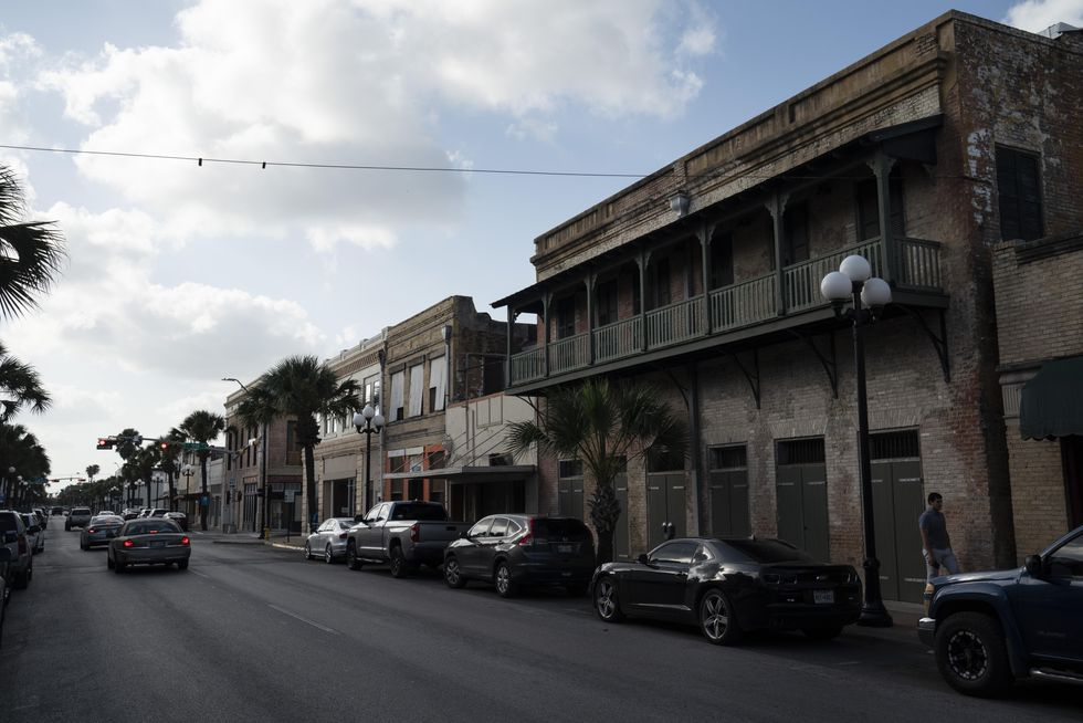 A street view of businesses in downtown Brownsville, Texas.
