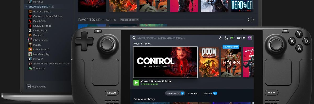 An image of Valve's new Steam Deck portable gaming device.