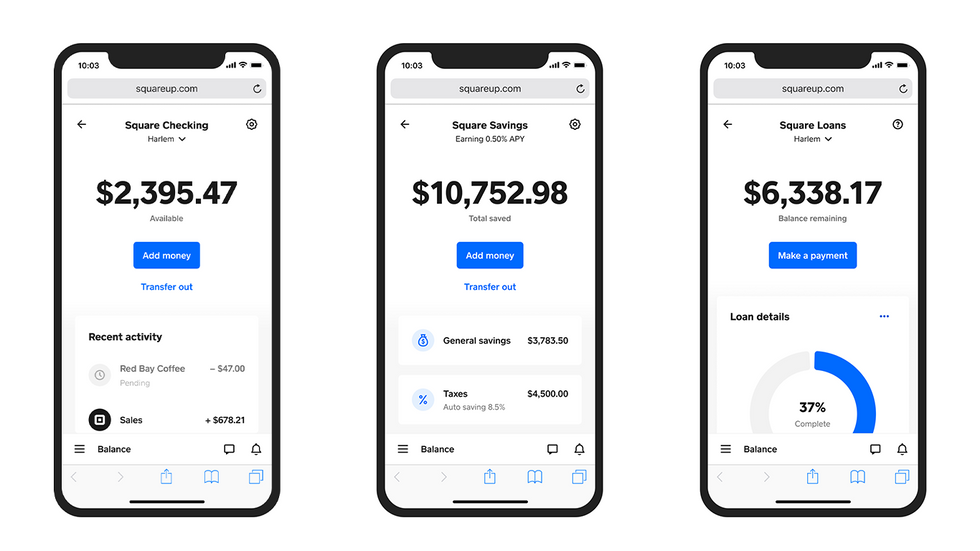 Screenshots of Square\u2019s new banking services.