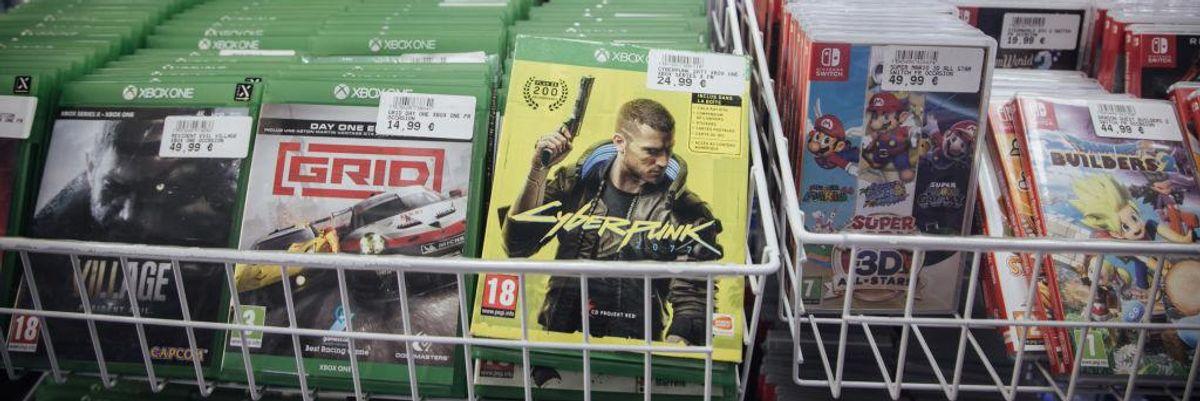 Shopper in rack of games