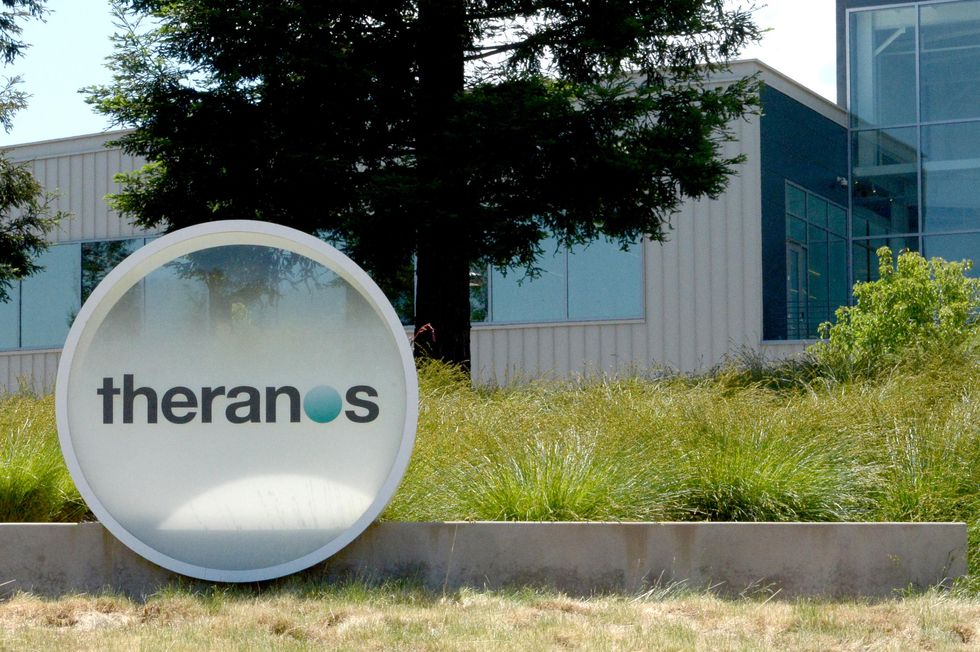 Theranos logo outside office building