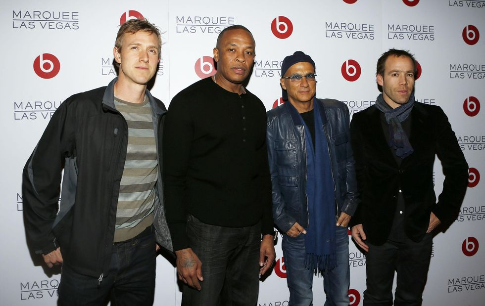 Ian Rogers, Dr. Dre, Jimmy Iovine and Luke Wood at the Beats CES after-party in 2013.