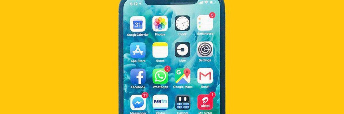 A selection of apps as displayed on an iPhone screen against a solid yellow background.