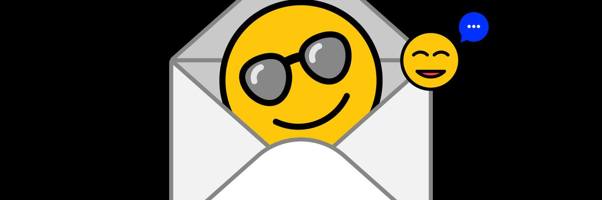 Cartoon email envelope with sunglasses emoji inside