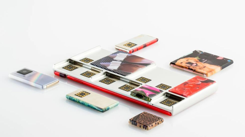 Project Ara phone modules laid out on a table.