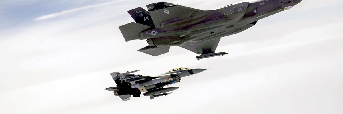 An F-35A Lightning II and two F-16 Fighting Falcons fly above the Joint Pacific Alaska Range Complex at Eielson Air Force Base, Alaska, July 28, 2021.
