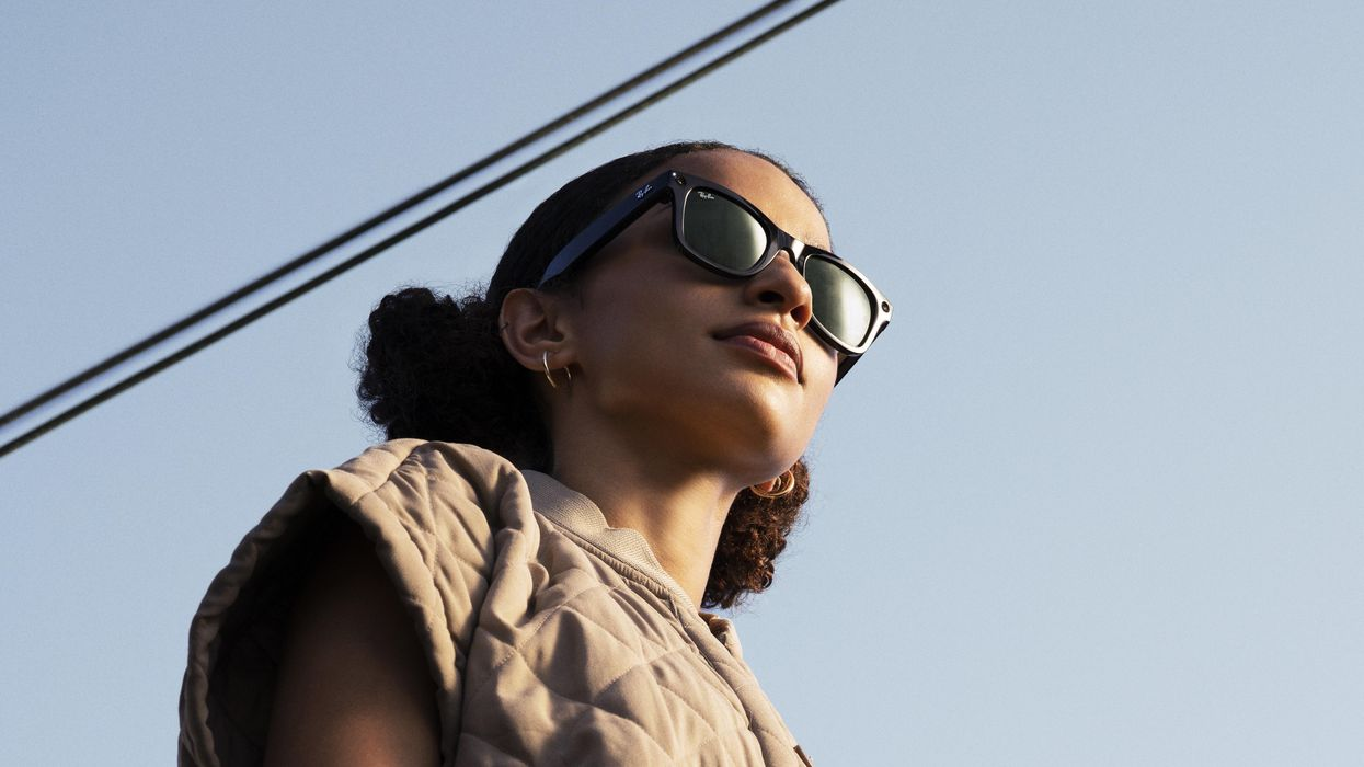 Photo of model wearing Facebook's Ray-Ban Stories smart glasses