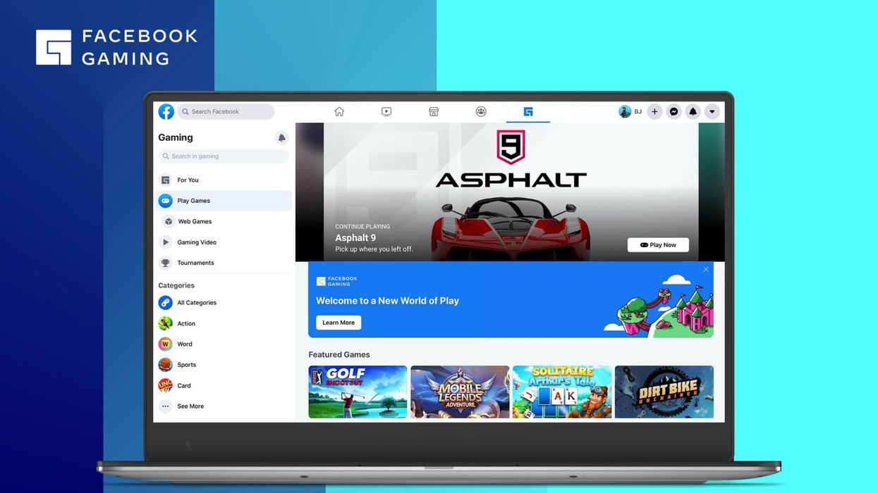An image of the Facebook Gaming home screen.