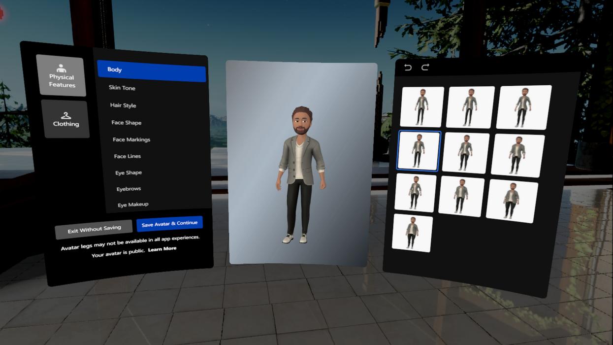 Facebook VR avatar editor