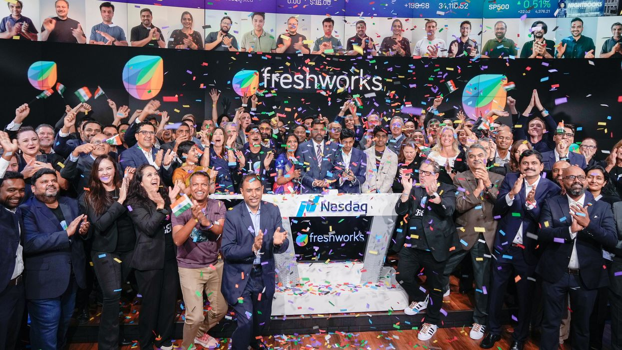 Freshworks employees celebrate its IPO on the floor of the Nasdaq stock exchange.