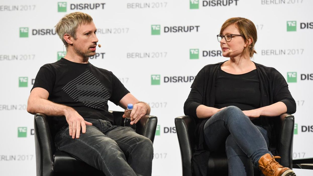 Gavin Wood and Jutta Steiner at the 2017 TechCrunch Disrupt conference in Berlin