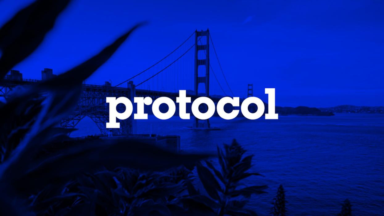 Golden Gate Bridge in San Francisco with Protocol logo.