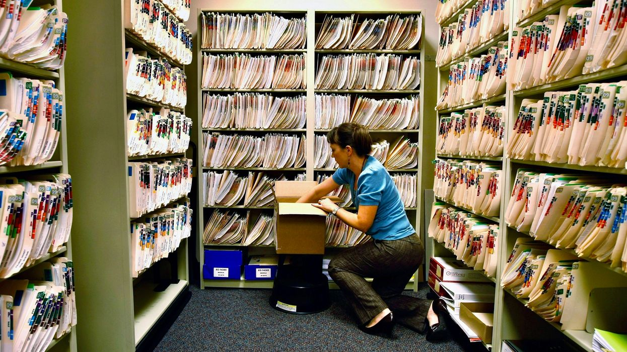 Health records at a doctor's office.