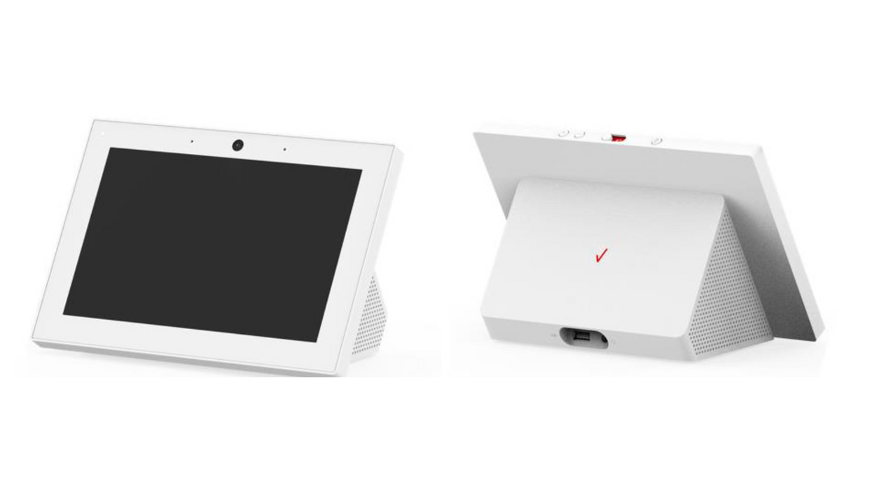 Image of Verizon smart display showing both front and back of the device