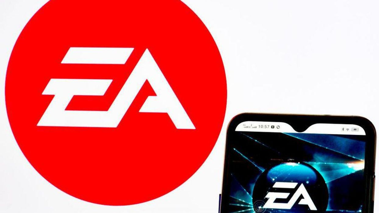 The Electronic Arts logo displayed on a mobile phone screen.