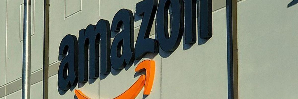 The Amazon logo on a building