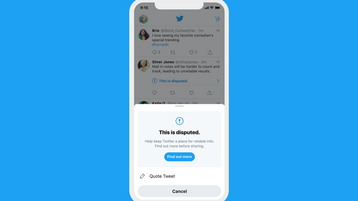 Twitter screen with disputed popup