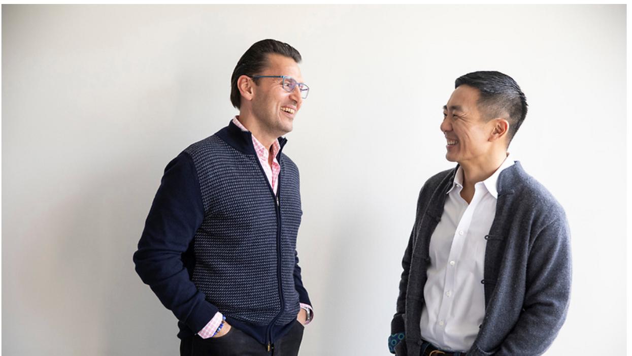Intuit CEO Sasan Goodarzi, left, and Credit Karma CEO Ken Lin.