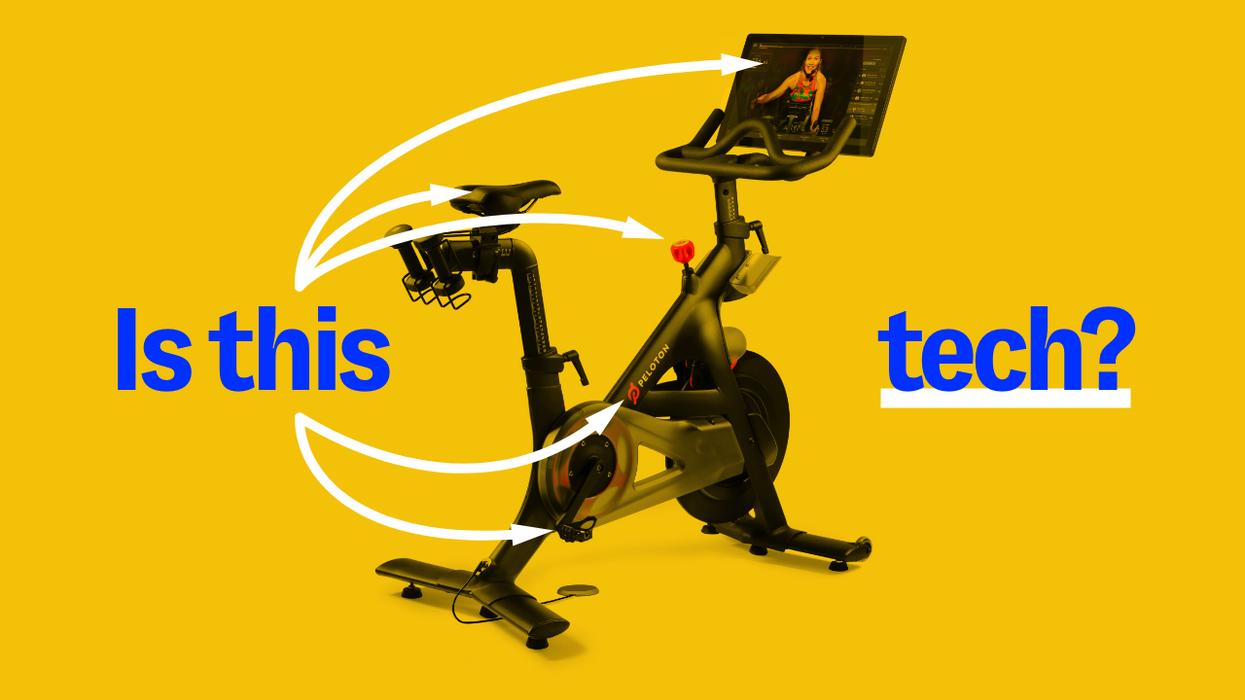 A peloton bike on a yellow background