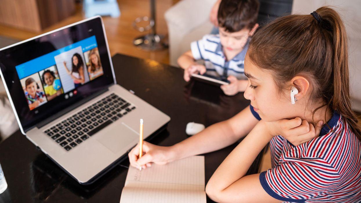 Kids doing schoolwork on Zoom