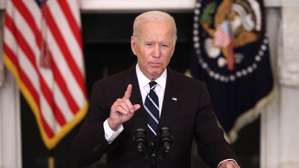 President Joe Biden at a podium.