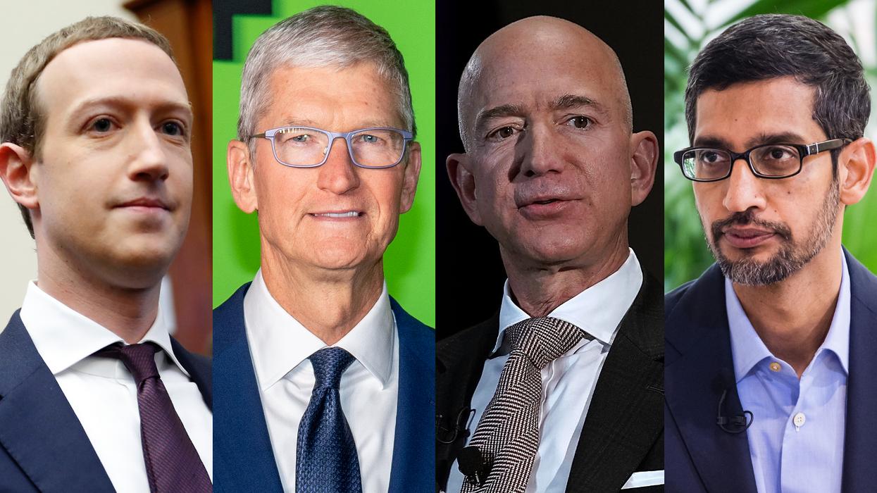 Mark Zuckerberg, Tim Cook, Jeff Bezos, Sundar Pichai