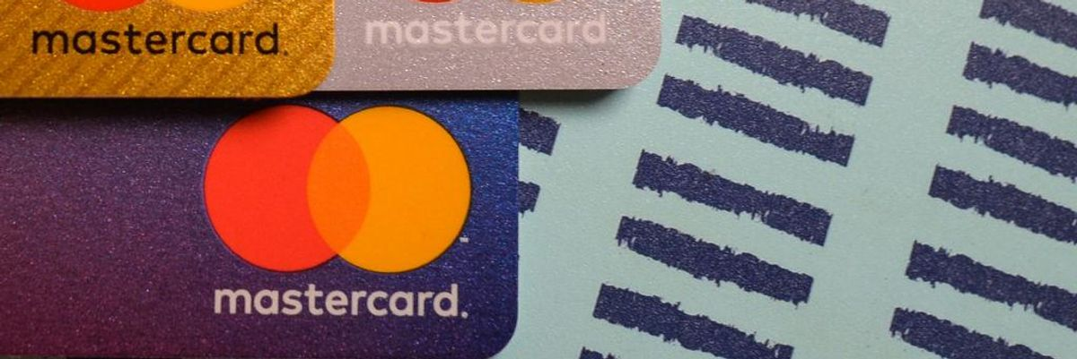 Mastercard cards and a series of lines