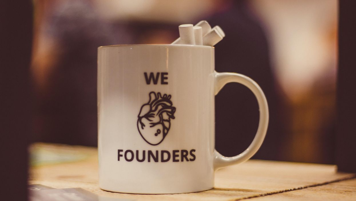 "Mug that says ""we heart founders"""