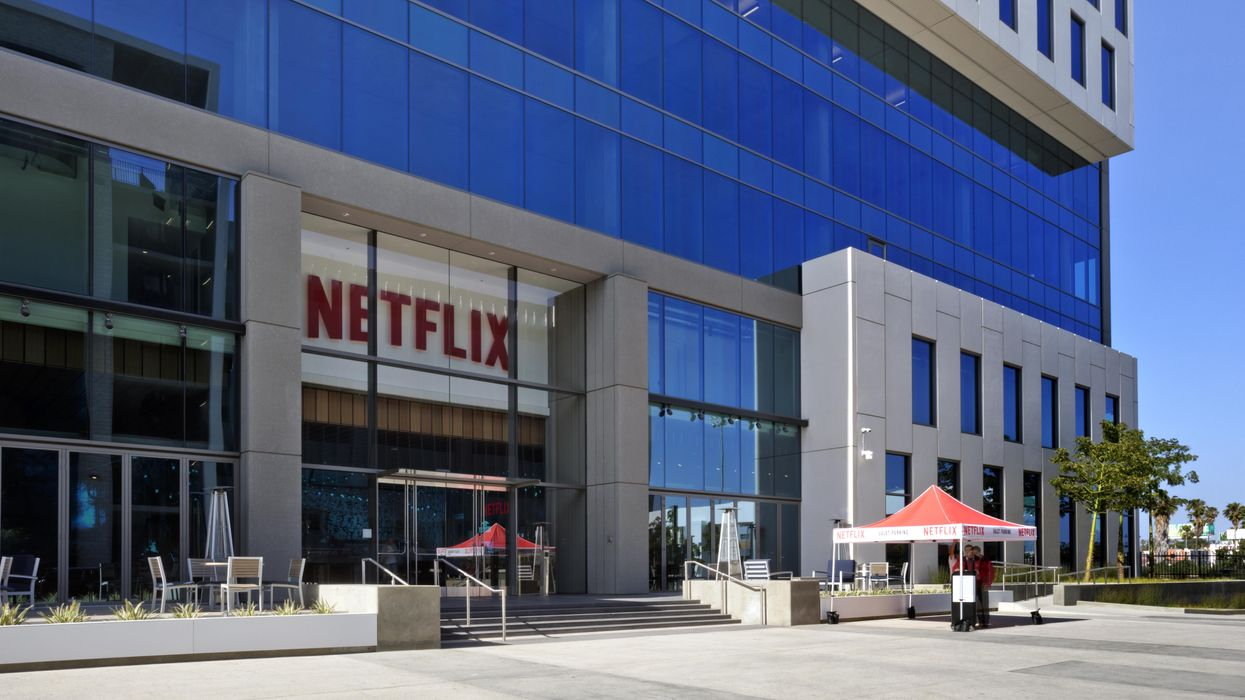 A building with a big Netflix sign over the door