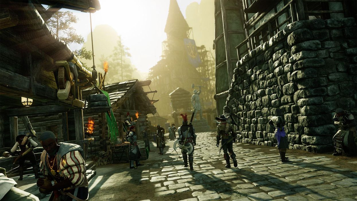 An image of virtual avatars in Amazon's New World.
