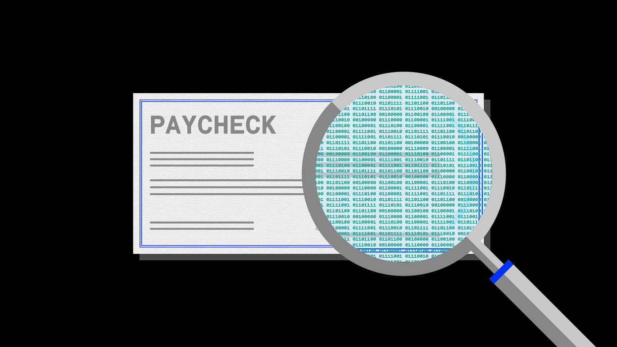 An illustration of a magnifying glass examining a paycheck for payroll data.