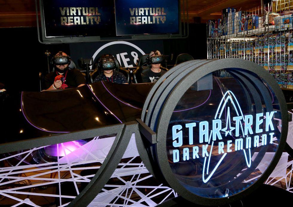 "People on a ""Star Trek"" VR ride"