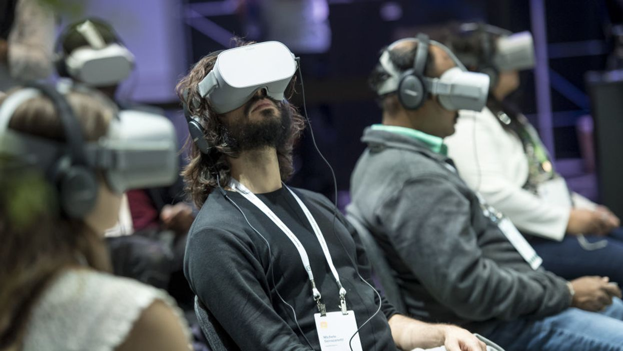 People using VR headsets