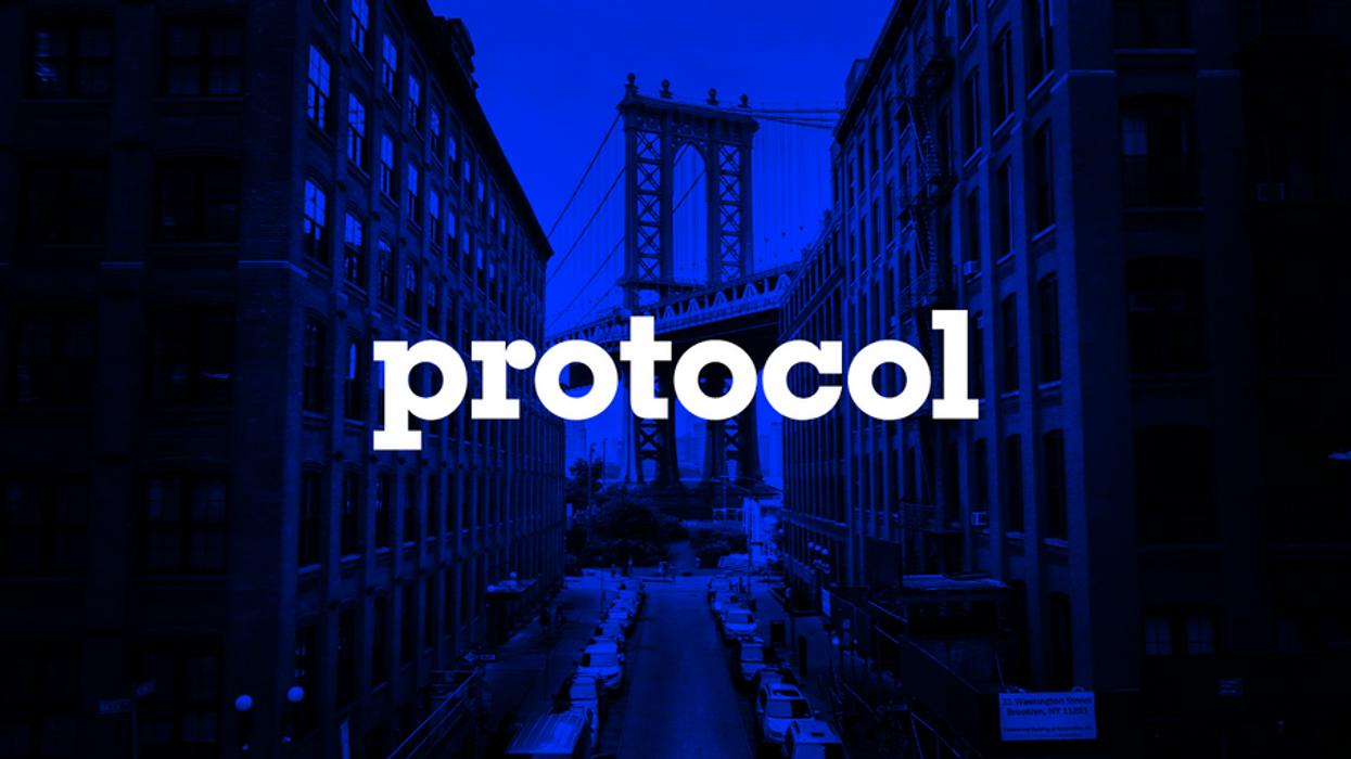 Photo of Brooklyn Bridge from Dumbo with Protocol logo.