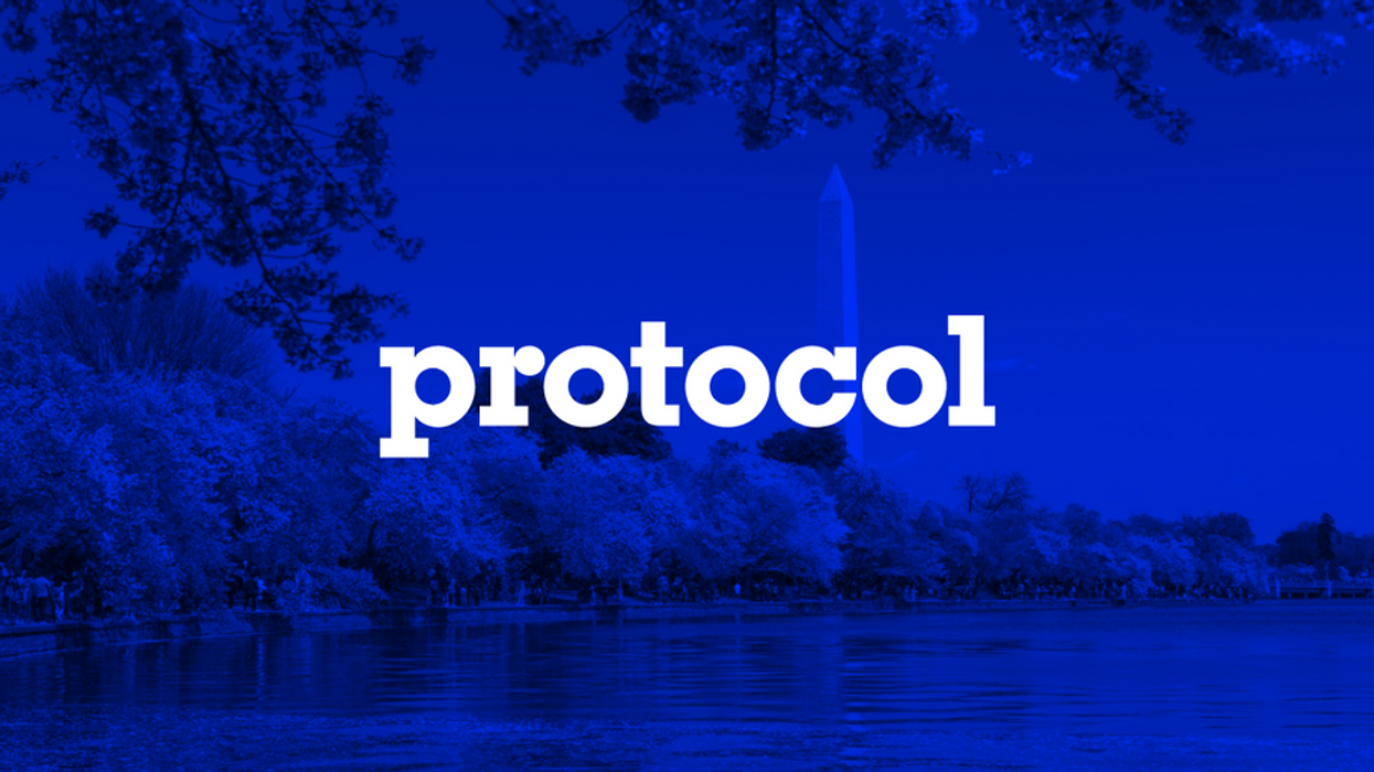 Photo of Washington Monument in D.C. with Protocol logo.