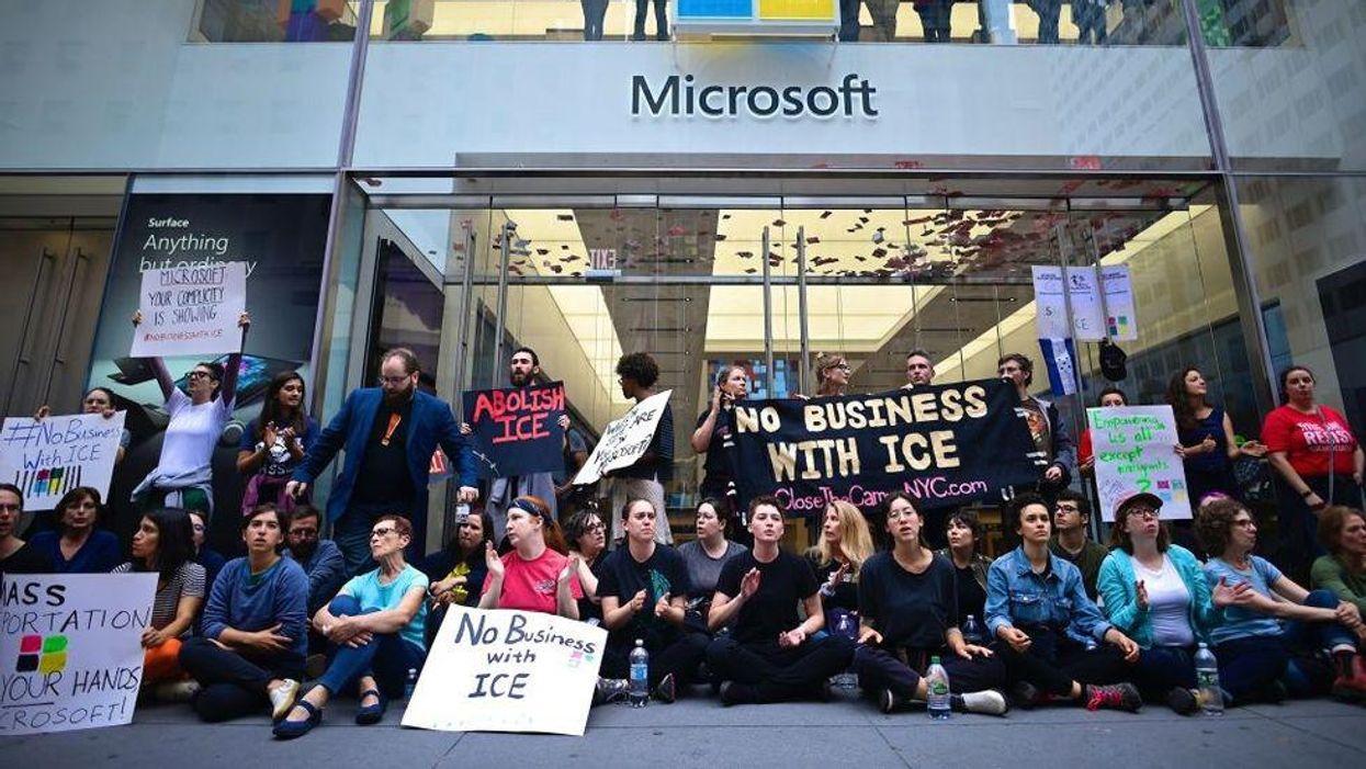 Protestors at a Microsoft store