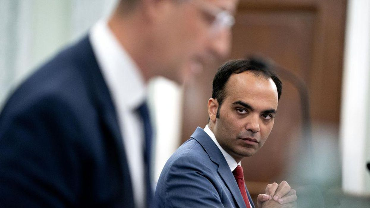 Rohit Chopra, commissioner of the Federal Trade Commission (FTC), listens during a Senate Commerce, Science, and Transportation Committee hearing in Washington, D.C., U.S