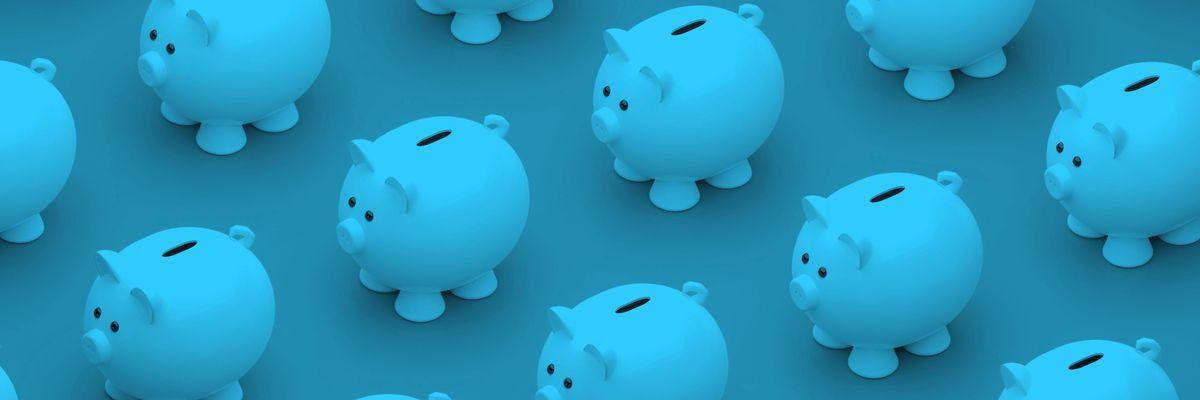 Row of piggy banks
