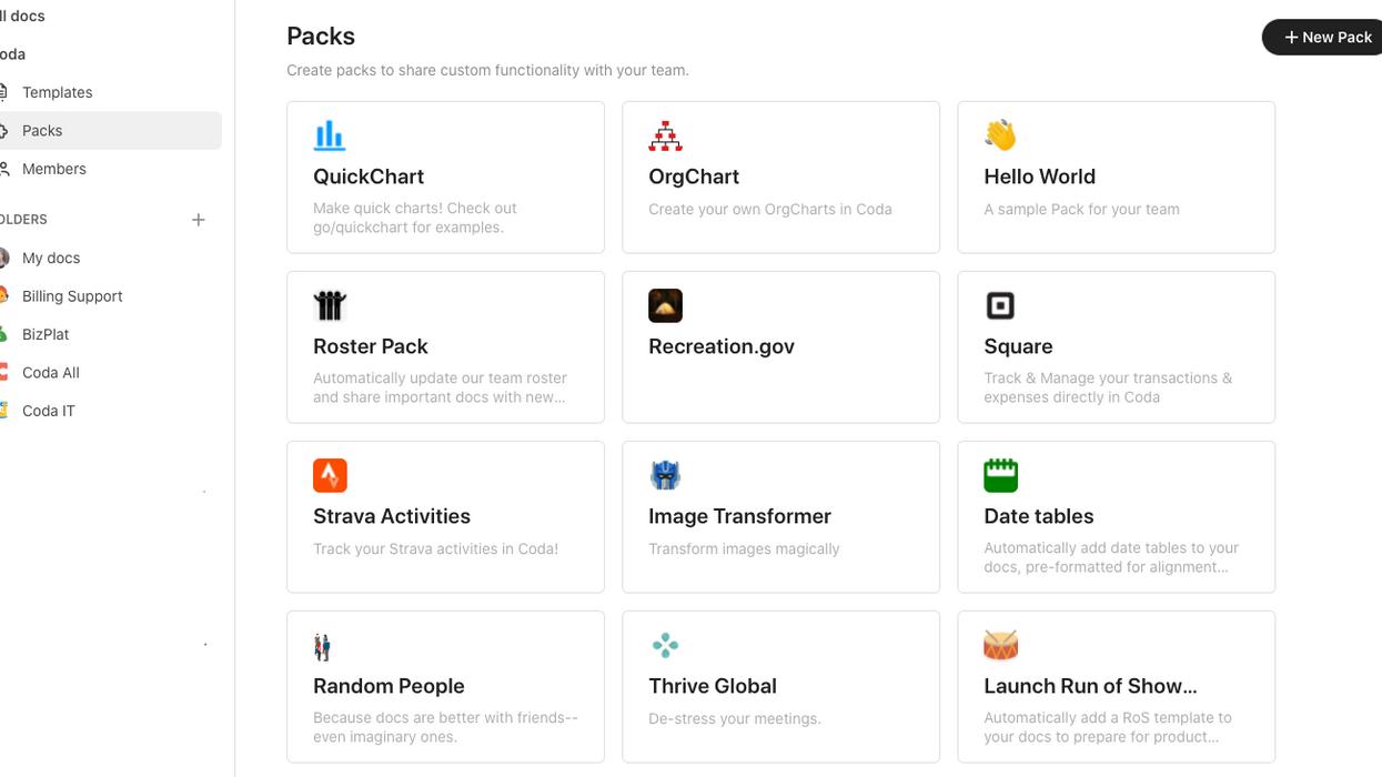 Screenshot of Coda's Packs.
