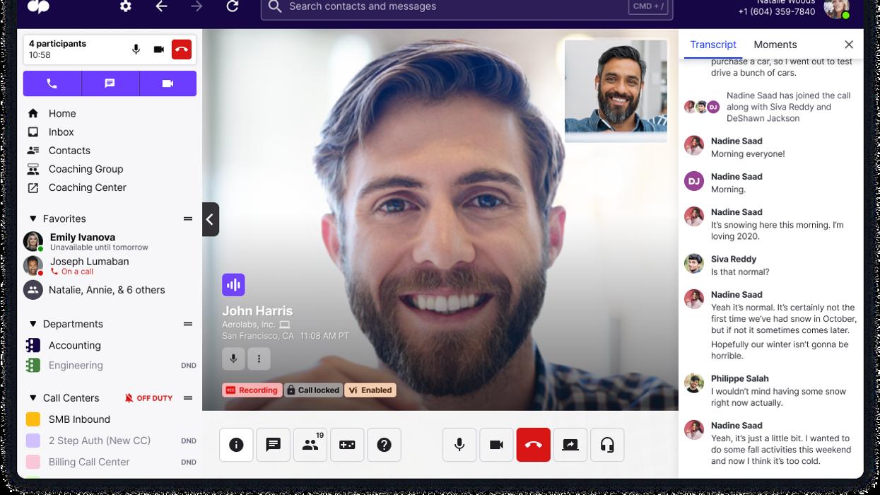Screenshot of Dialpad app on a laptop