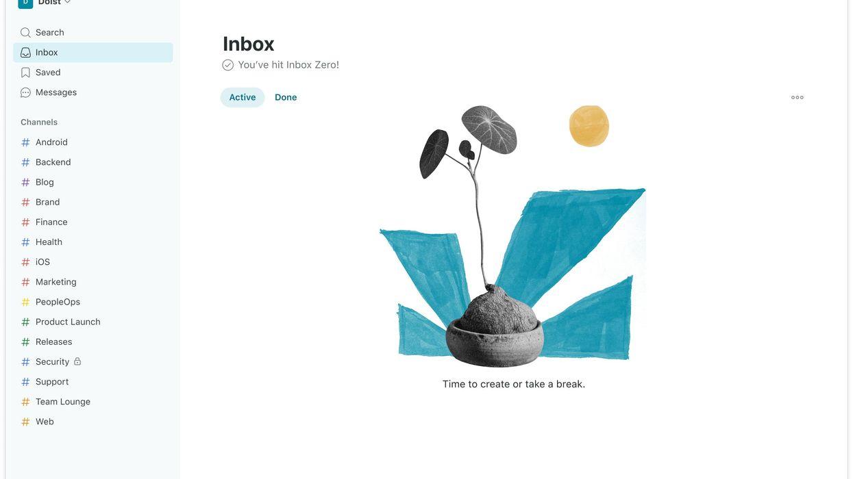 Screenshot of Twist Inbox Zero