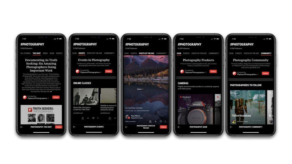 Screenshots of the new Flipboard app on an iPHone.