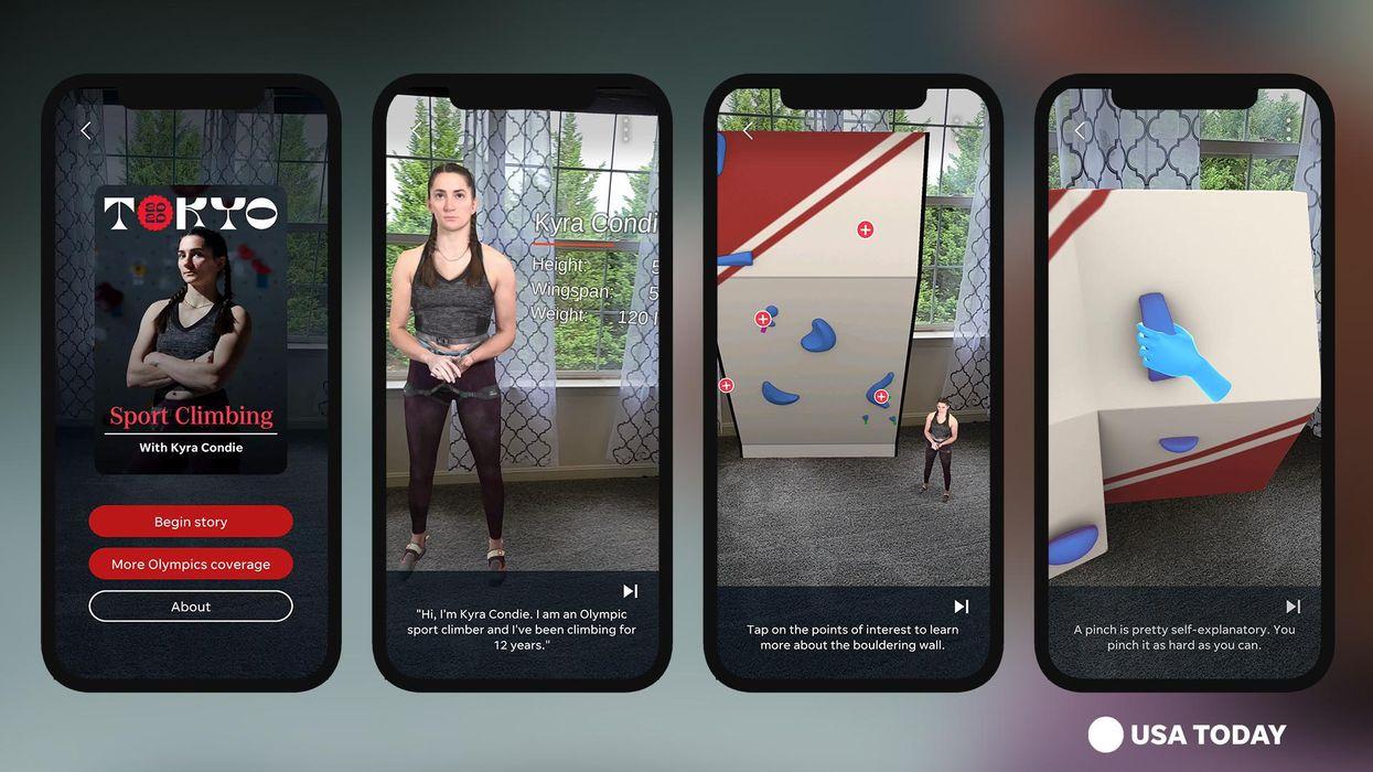 Screenshots of USA Today's 2020 Olympics AR experience