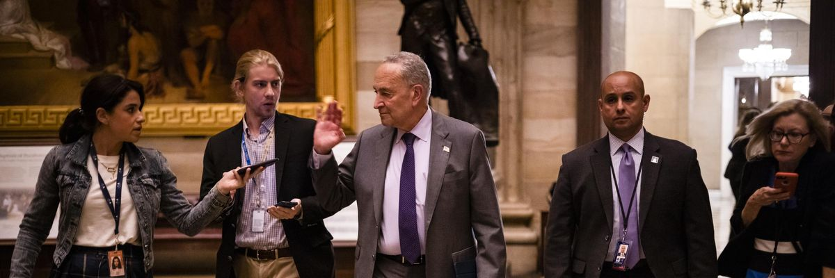 Senate Majority Leader Chuck Schumer of New York talks to reporters in the Capitol in June.