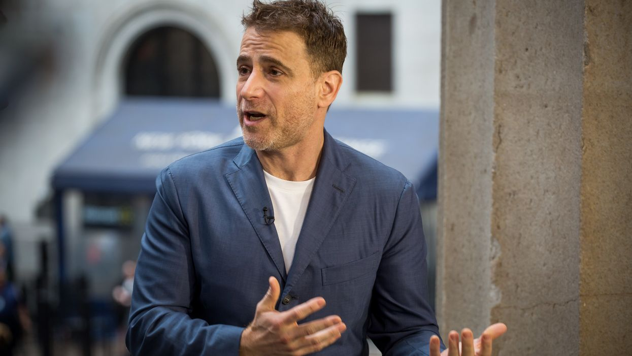 Stewart Butterfield, chief executive officer of Slack Technologies, Inc., speaks during an interview outside of the New York Stock Exchange (NYSE) during the company's initial public offering