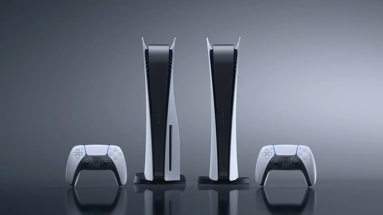 An image of two PlayStation 5 consoles and controllers, one with the disc drive and one without.
