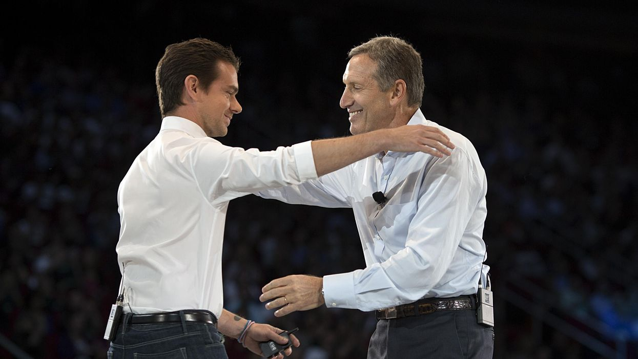 Square CEO Jack Dorsey and former Starbucks CEO Howard Schultz