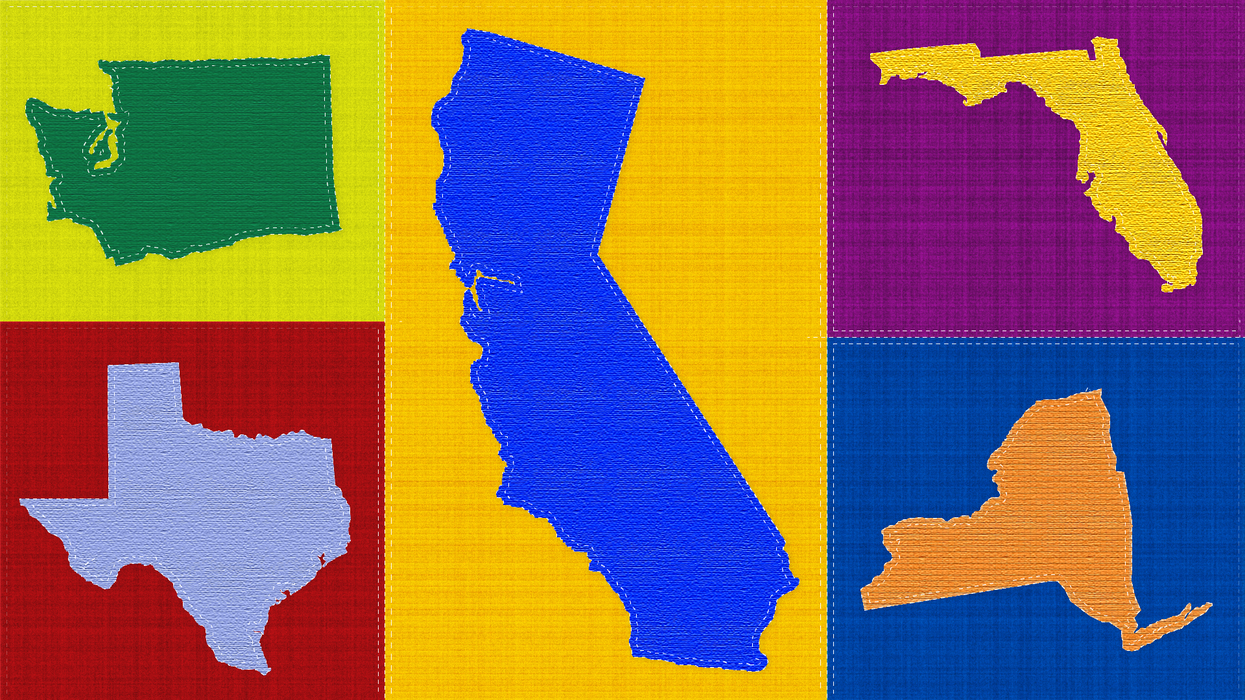 """an illustration representing a patchwork """"quilt"""" of several states"""