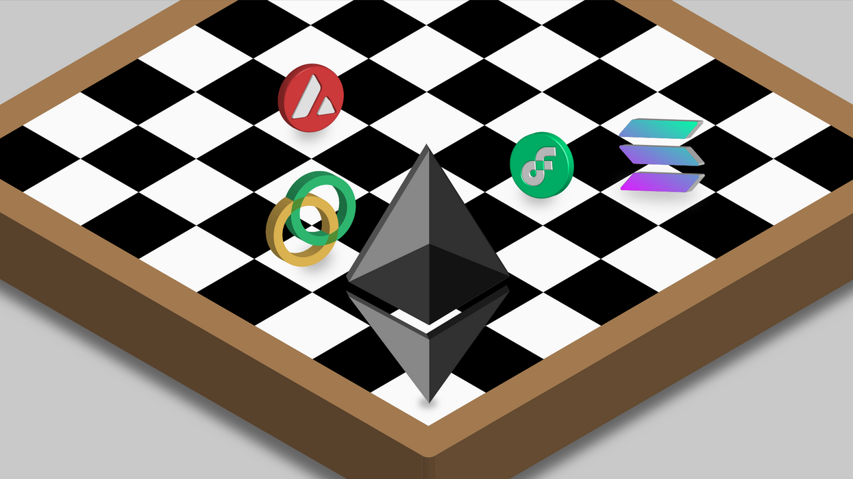 Symbols for different blockchains positioned on a chess board around the Ethereum logo.