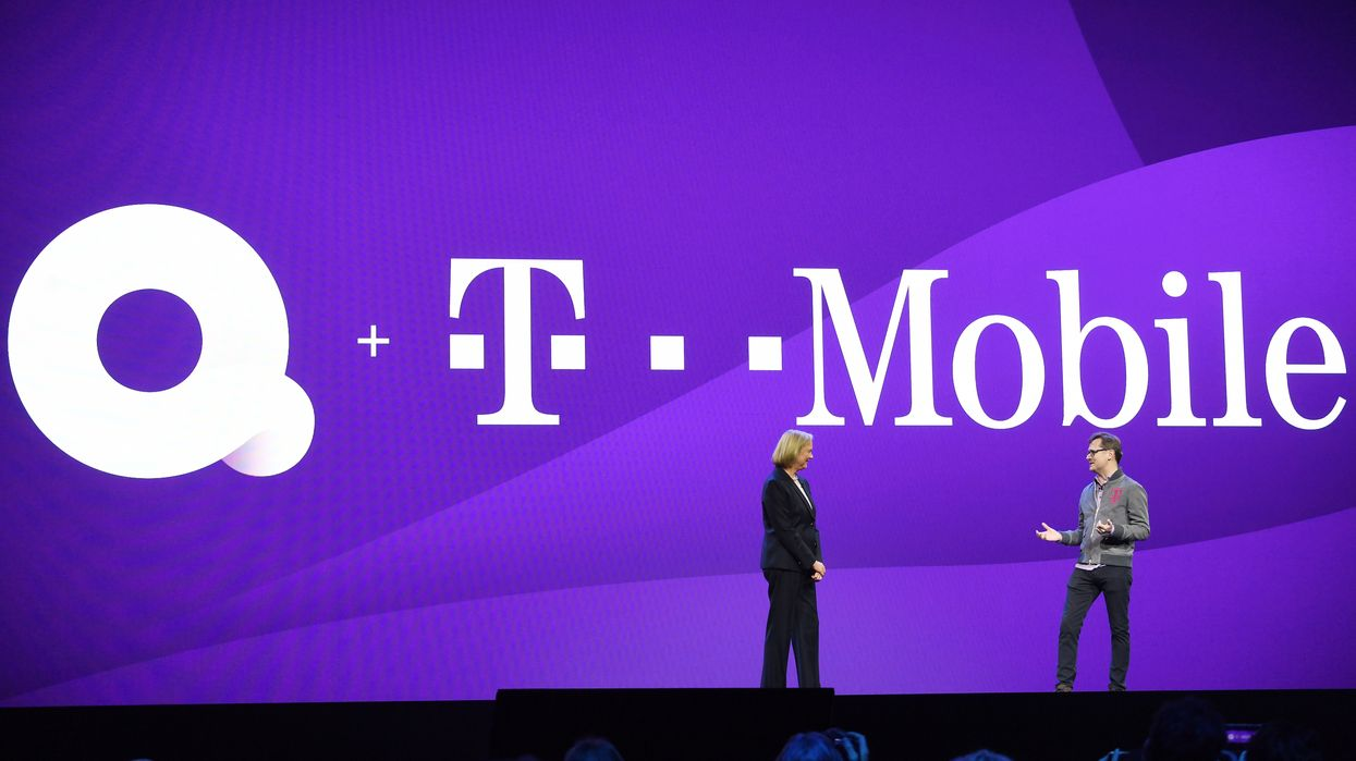 Mike Sievert, president and chief operating officer for T-Mobile speaks as Meg Whitman, chief executive officer of Quibi